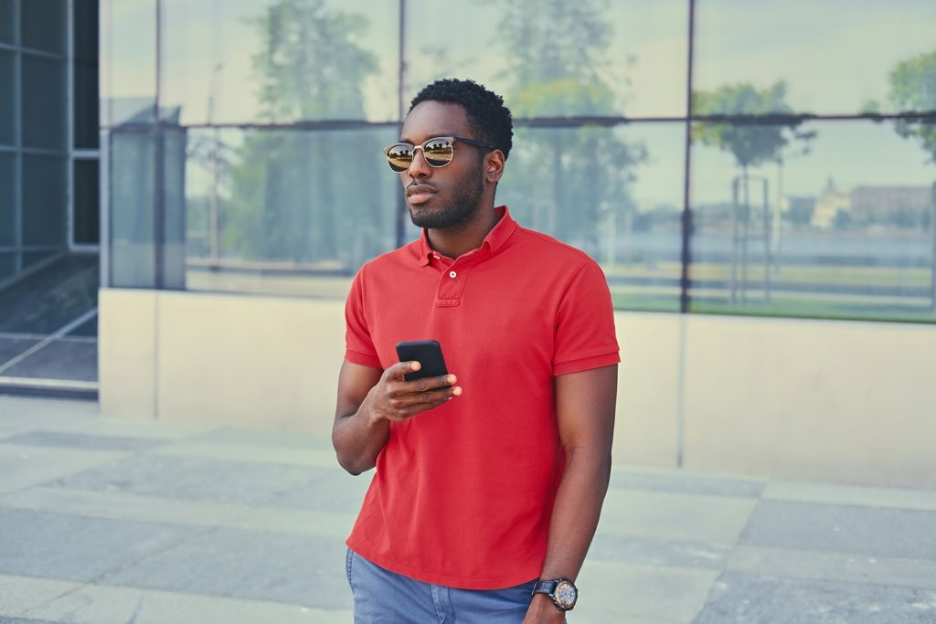 black-american-male-using-a-smart-phone